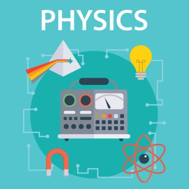 Set of flat design concepts for physics