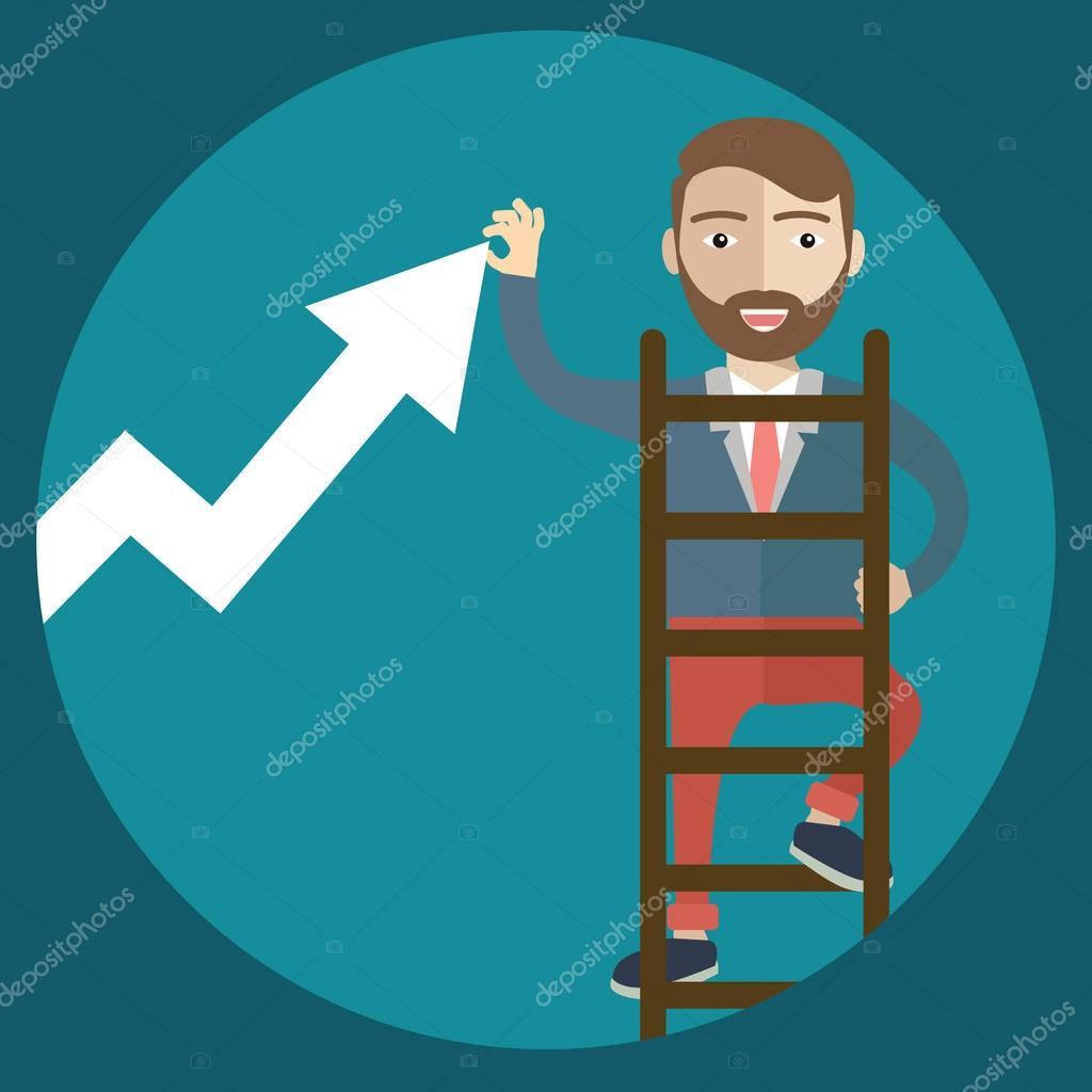 Businessman climbing staircase