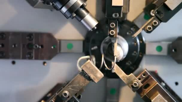 The coil spring manufacturing machine. Time Lapse.