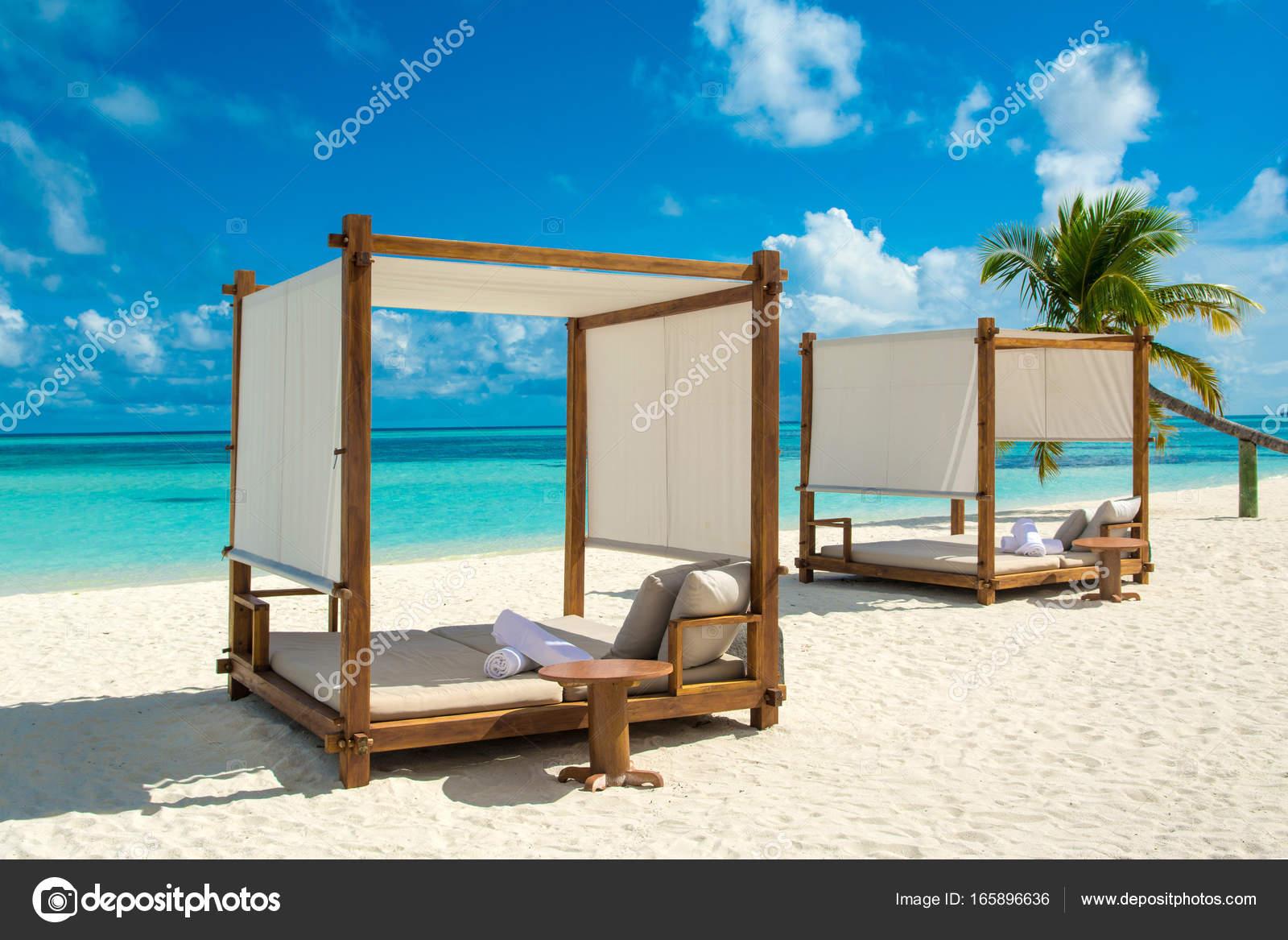 Chill Lounge Zone Sandy Beach Maldives Island Stock Photo