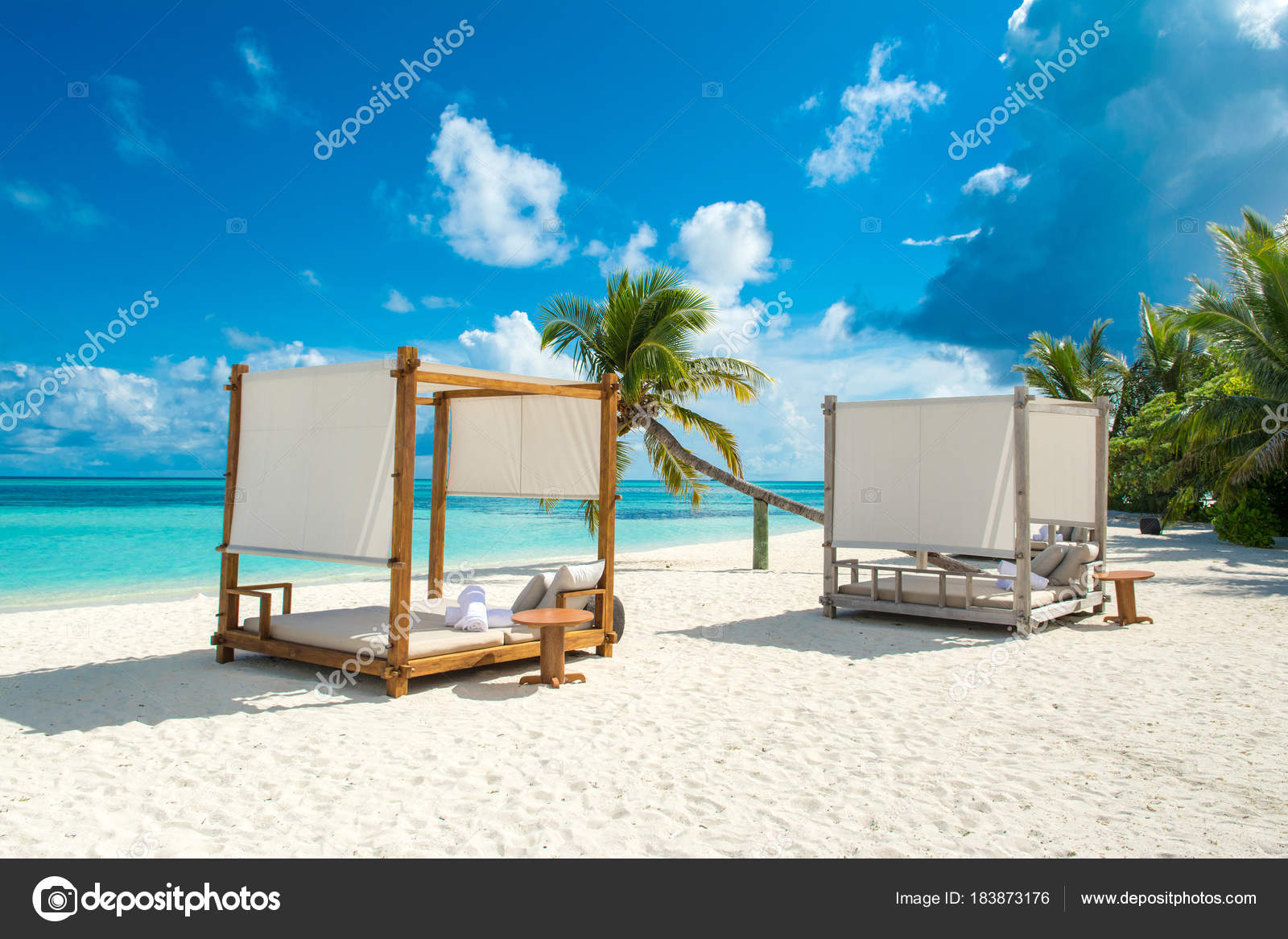 Chill Lounge Zone On The Sandy Beach Maldives Island Stock Photo