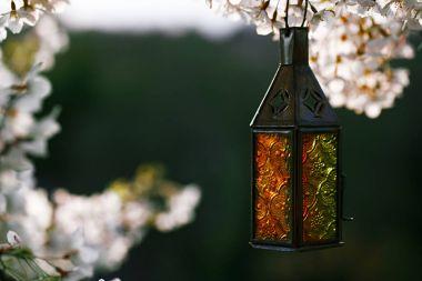 Moroccan glass and metal lanterns lamp