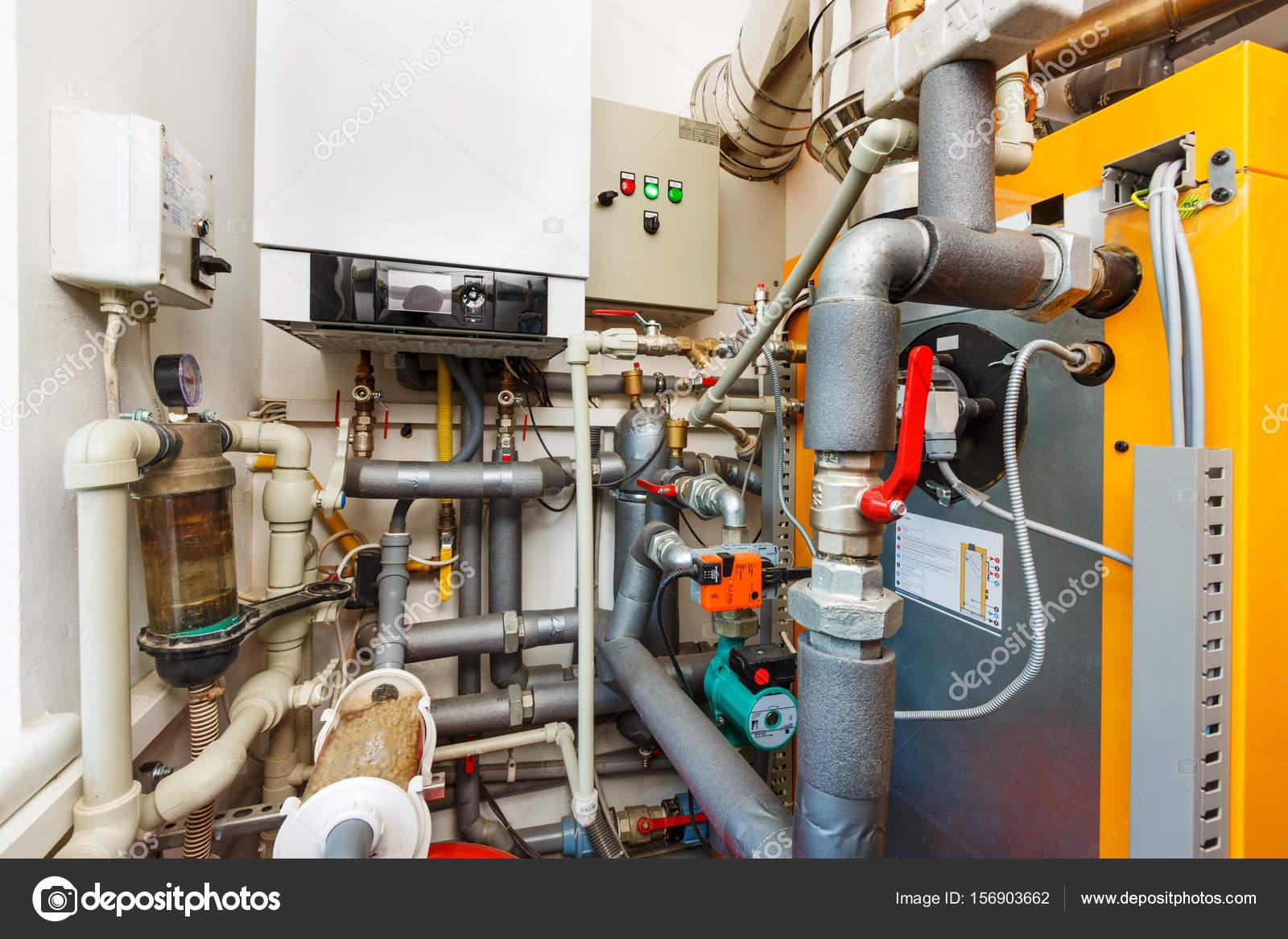 Household boiler room with gas boiler, barrel; Valves; Sensors a ...