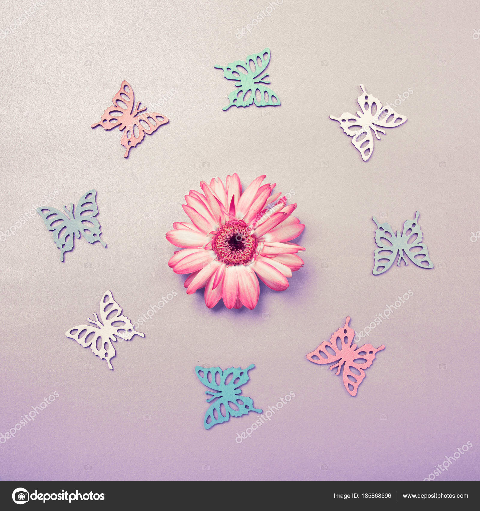 Butterfies Cutouts Arranged In Circle Around A Flower Flatlay On