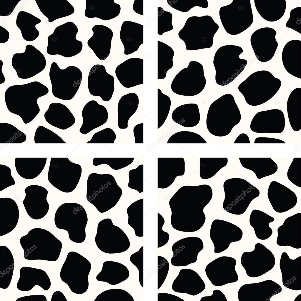 patrones de piel de vaca vector blanco y negro — Archivo Imágenes ...