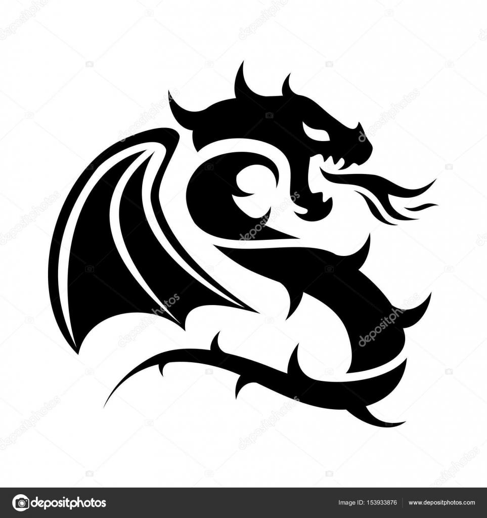 Icono De Vector De La Insignia Del Dragón Volador Blanco Y Negro
