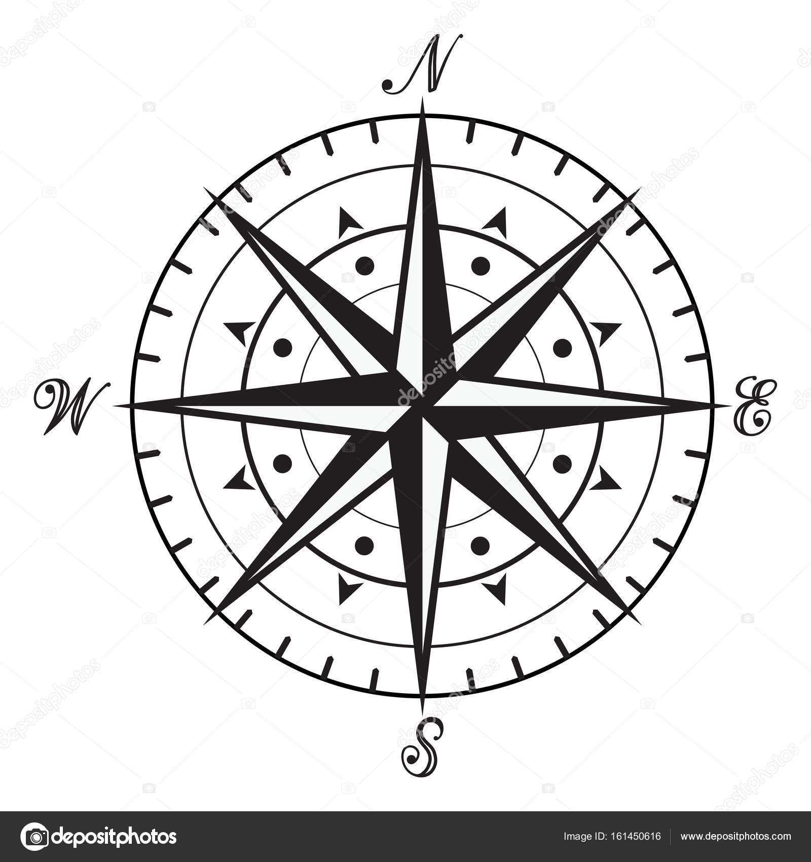 Vector Vintage Black And White Compass Stock