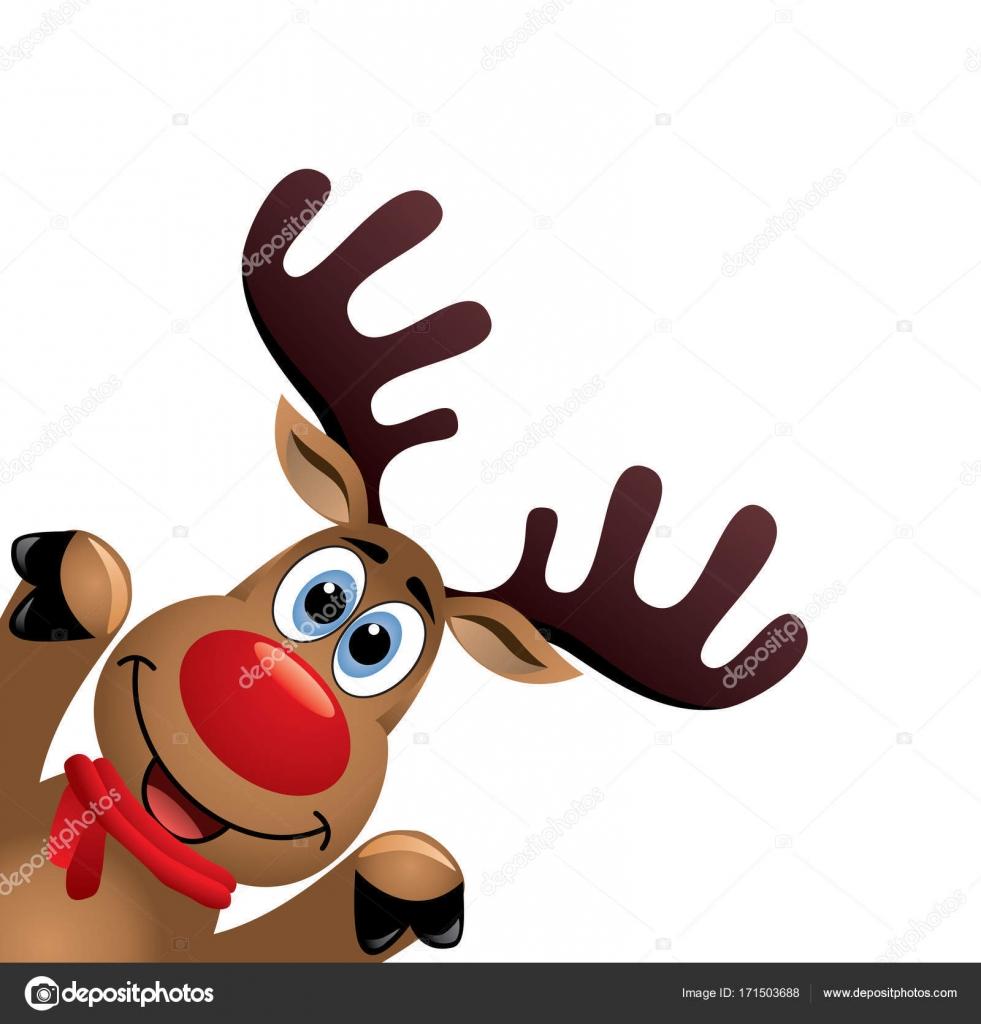 ベクトル描画面白い赤鼻のトナカイのクリスマス ストックベクター