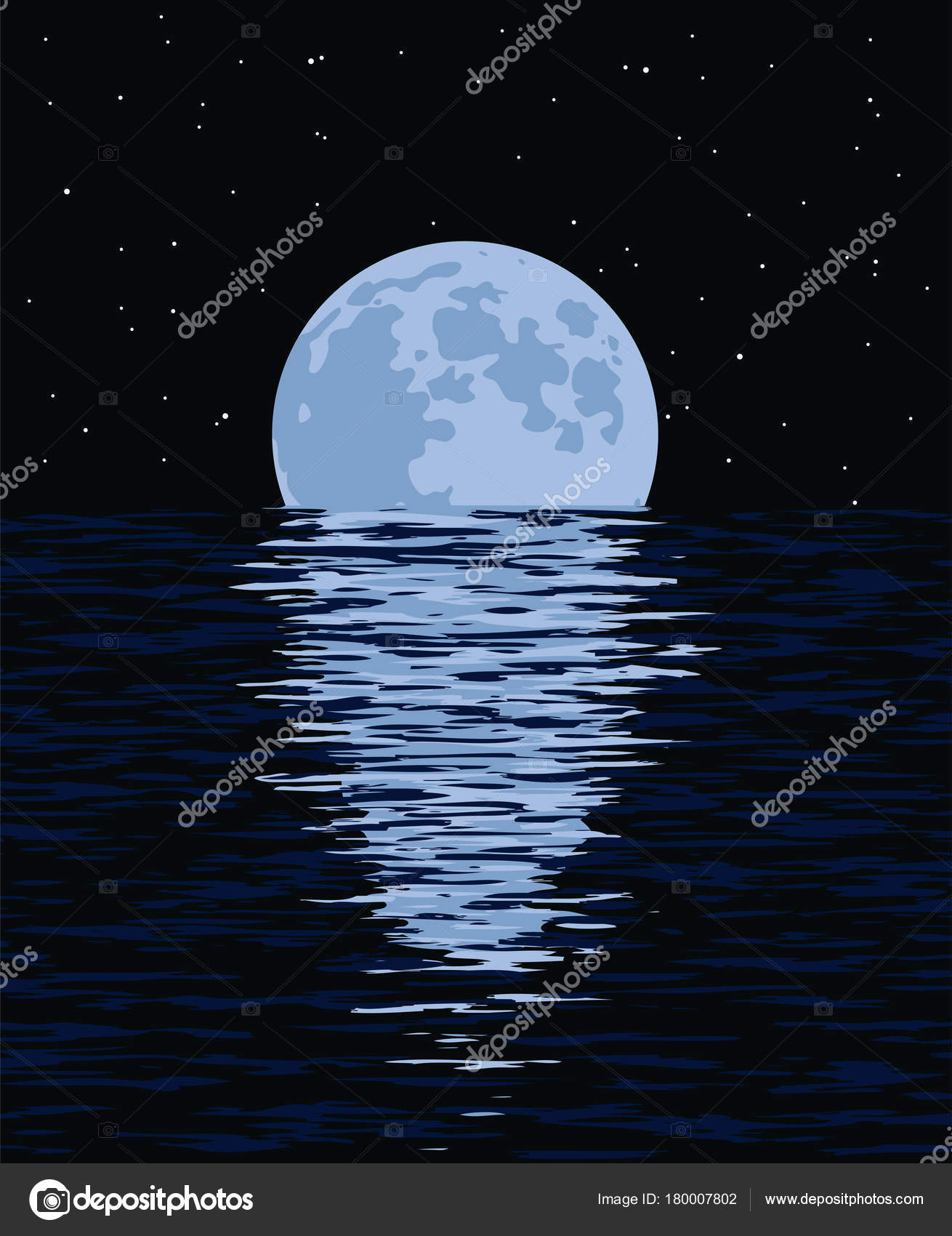 Vector Background Of Sea And Full Moon At Night Stock Vector