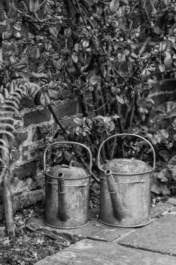 Two old watering cans in vintage style image of English contry g