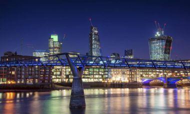 Beautiful London city night skyline landscape with glowing city