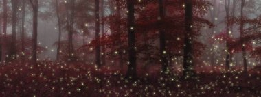 Stunning fantasy style landscape image of fireflies in night tim