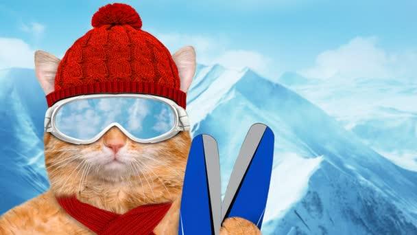 Cinemagraph - lyžař kočka nosí sluneční brýle relaxační v hoře. Pohyb fotografie.