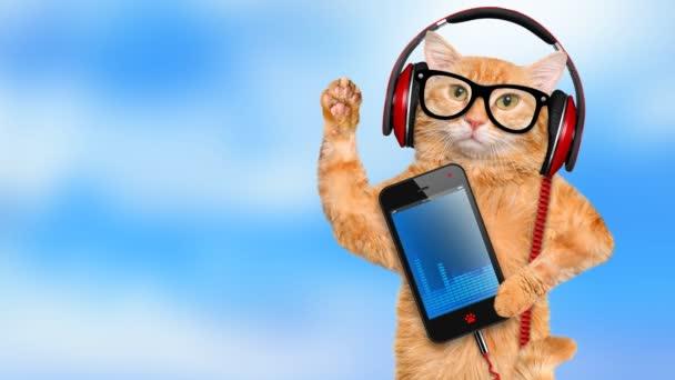 Cinemagraph - macska a fejhallgató, zenét hallgatok .