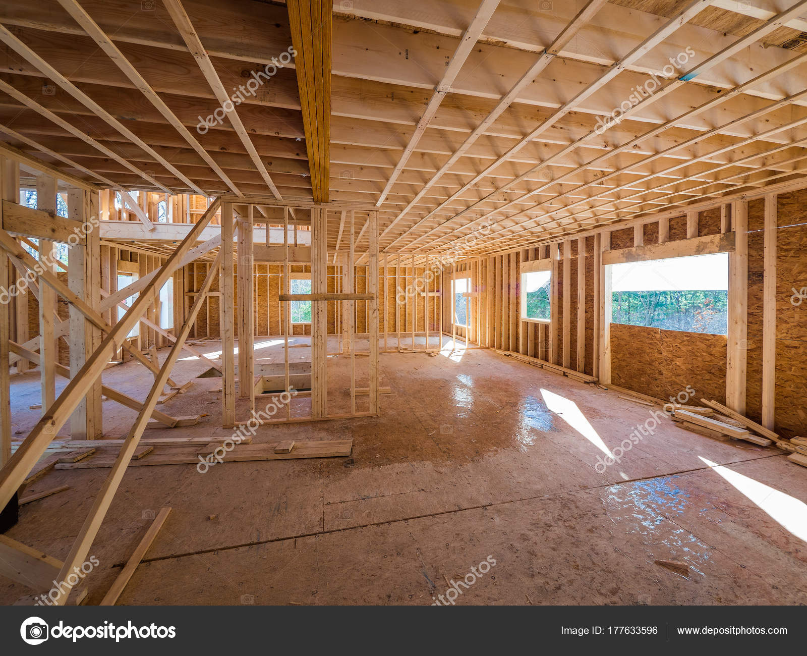 New House Interior Construction Framing Site — Stock Photo © Sonar ...
