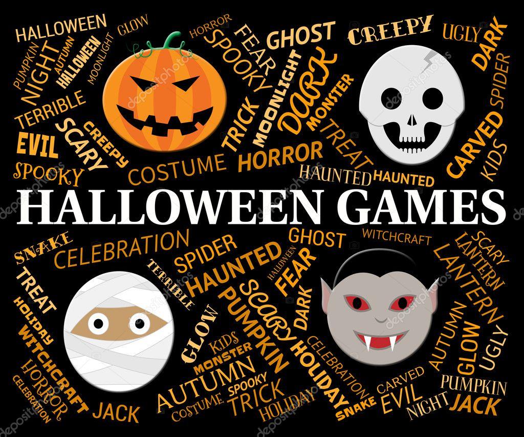 halloween spiele stellt trick or treat spiel stockfoto
