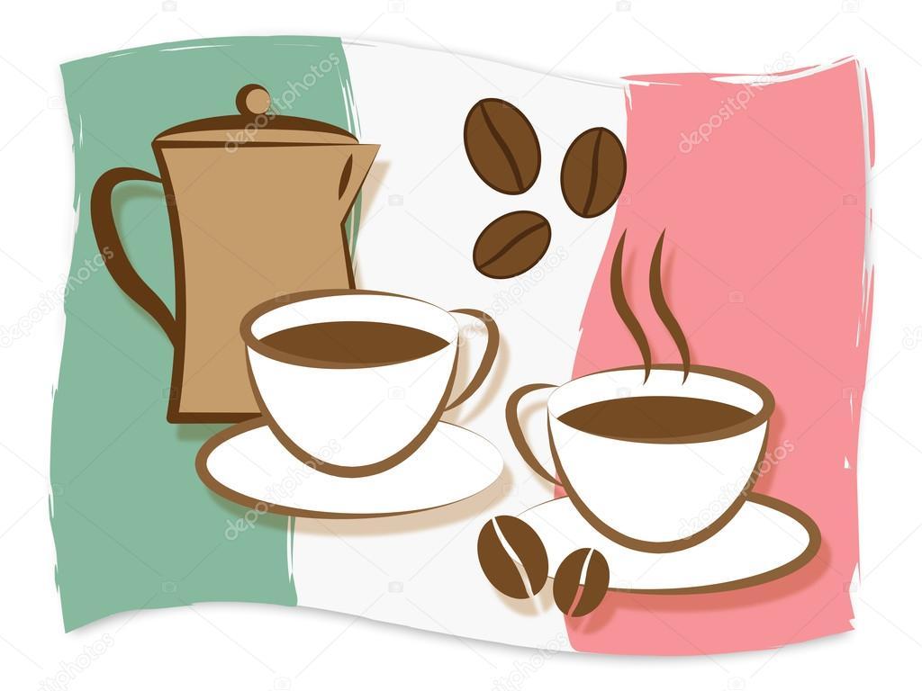 Italienischer Kaffee bedeutet Italien und Getränke — Stockfoto ...