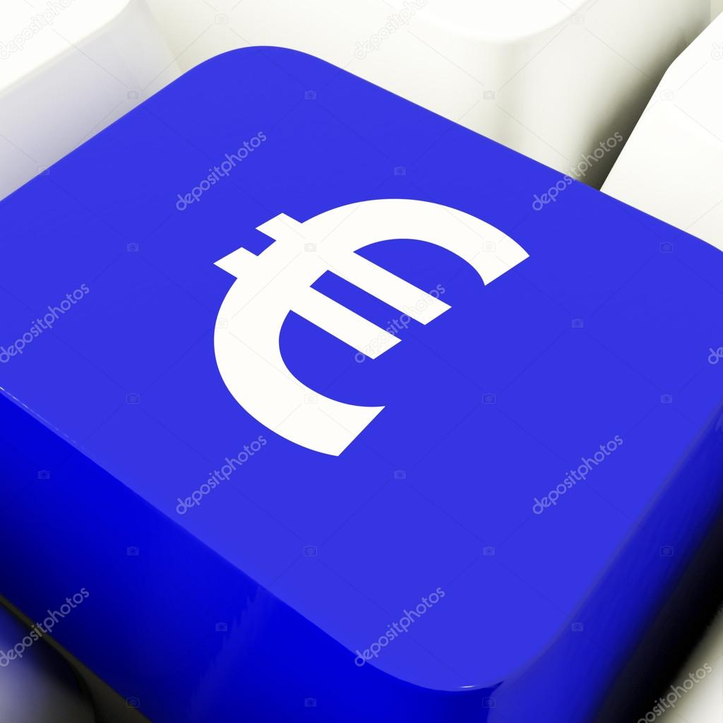 Klawisz Komputer Symbol Euro W Niebieski Pienidze I Inwestycje