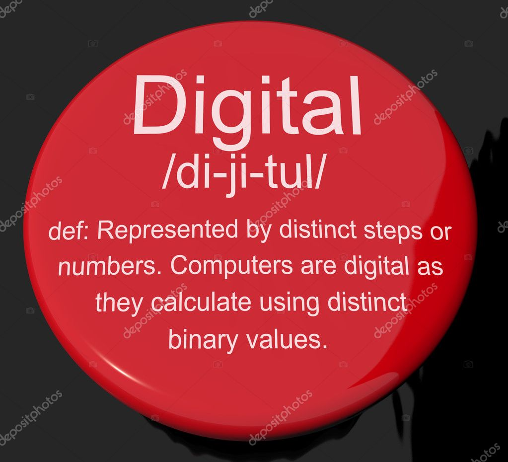 Digital Definition Button Showing Binary Values Used In