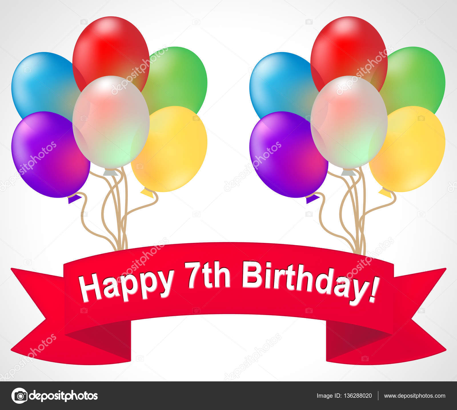 Happy Seventh Birthday Meaning 7th Party Celebration 3d Illustra Stock Photo C Stuartmiles 136288020