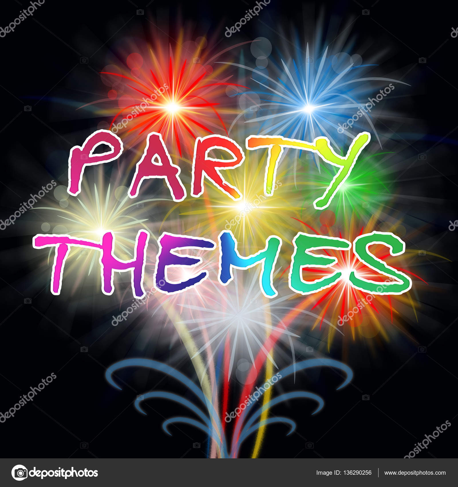 party themes indicates celebration ideas and festivity stock photo