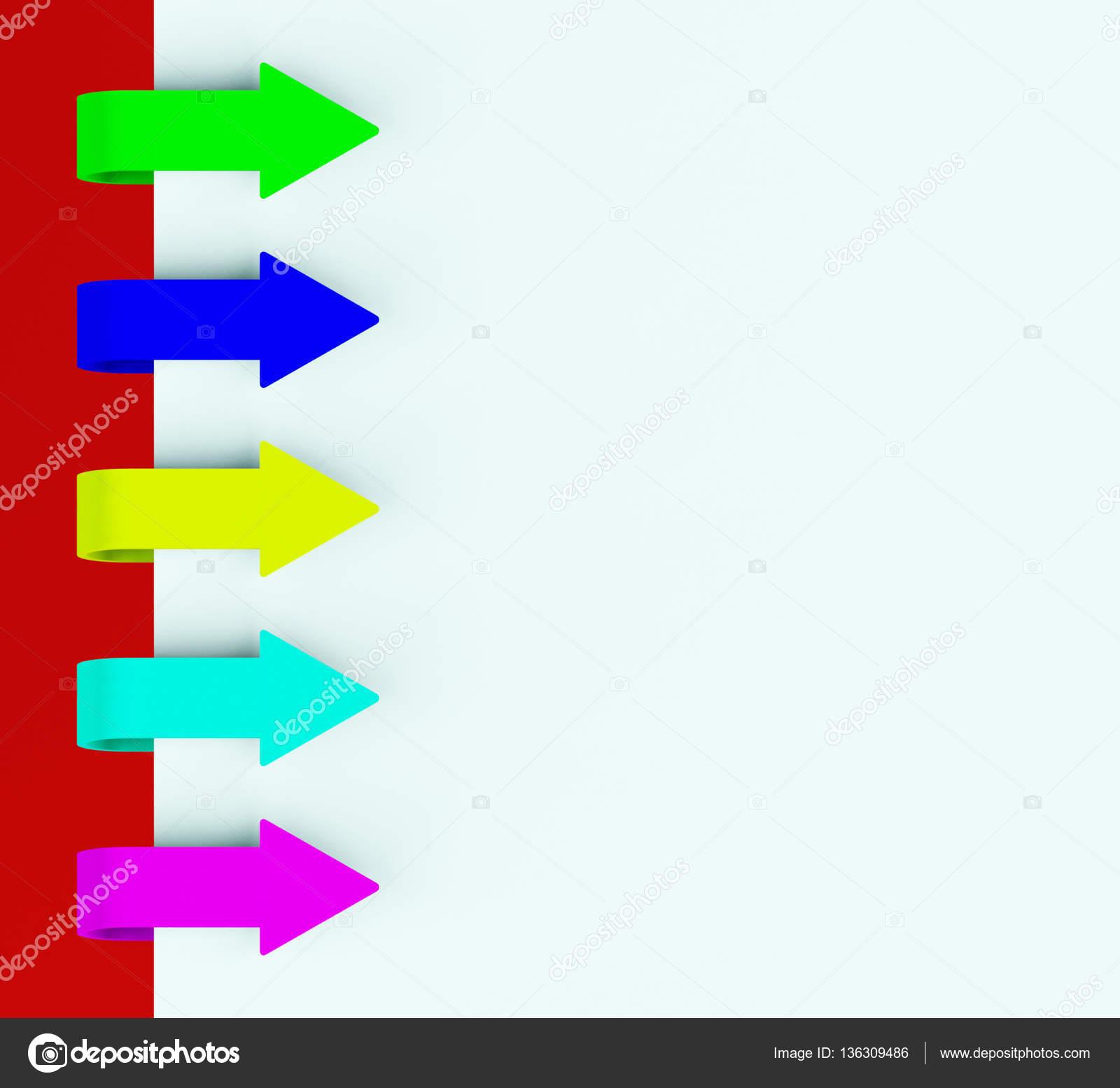 Five Multicolored Arrow Tabs Over Paper For Menu List 3d Renderi