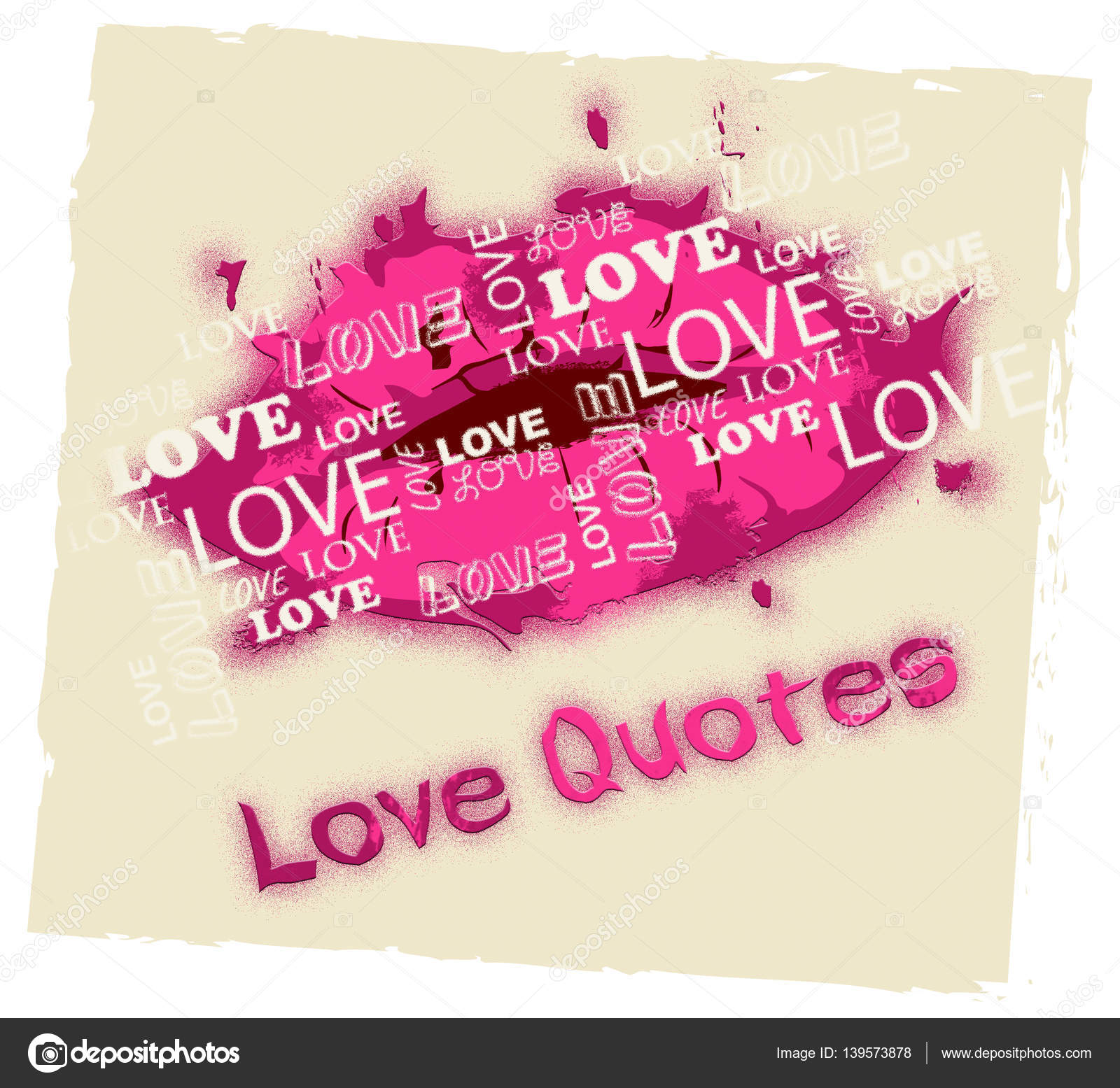 Love Quotes Shows Loving Inspiration And Affection Stock Photo