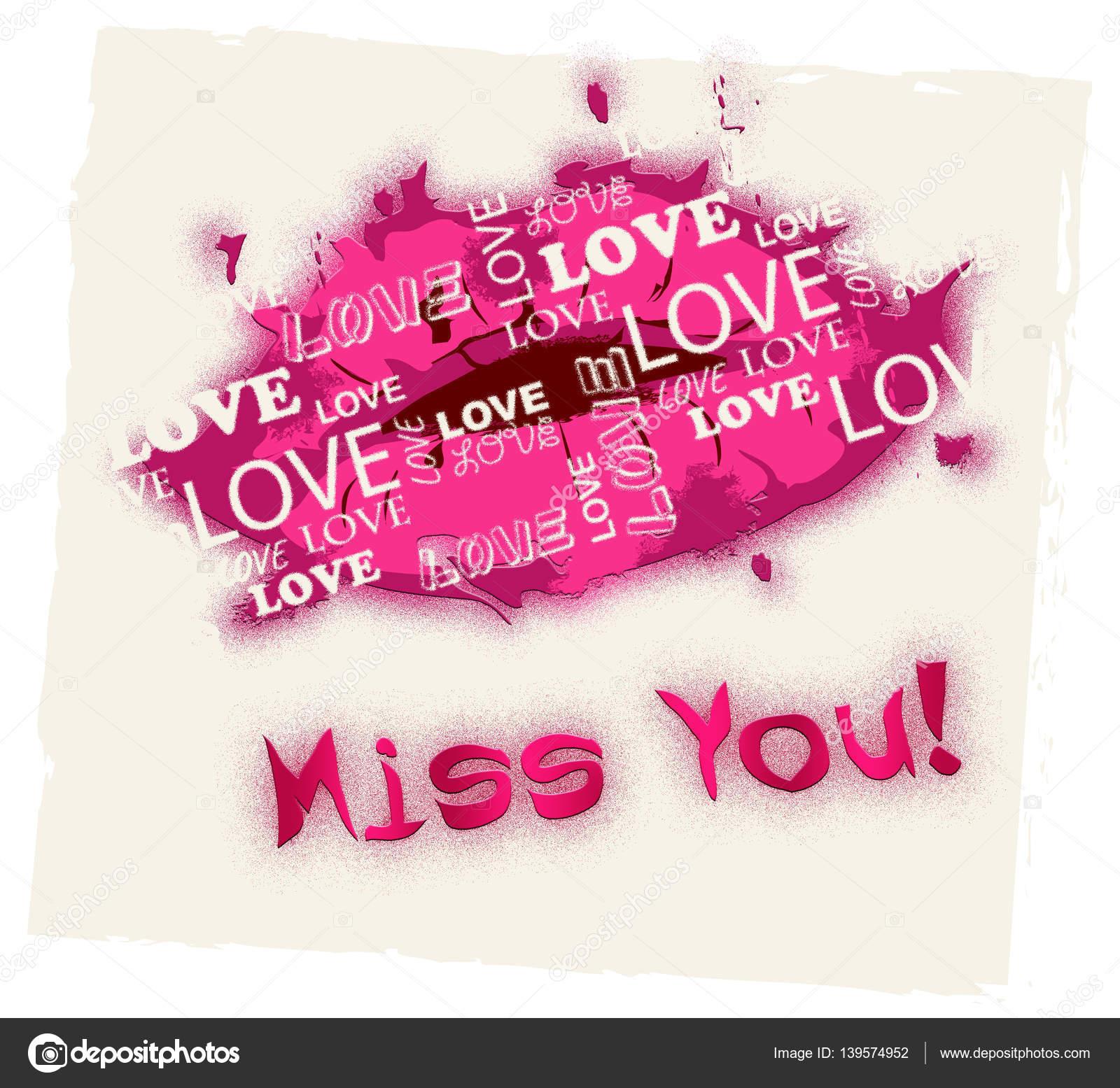 Miss You Betekent Afwezigheid Liefde En Verlangen Stockfoto
