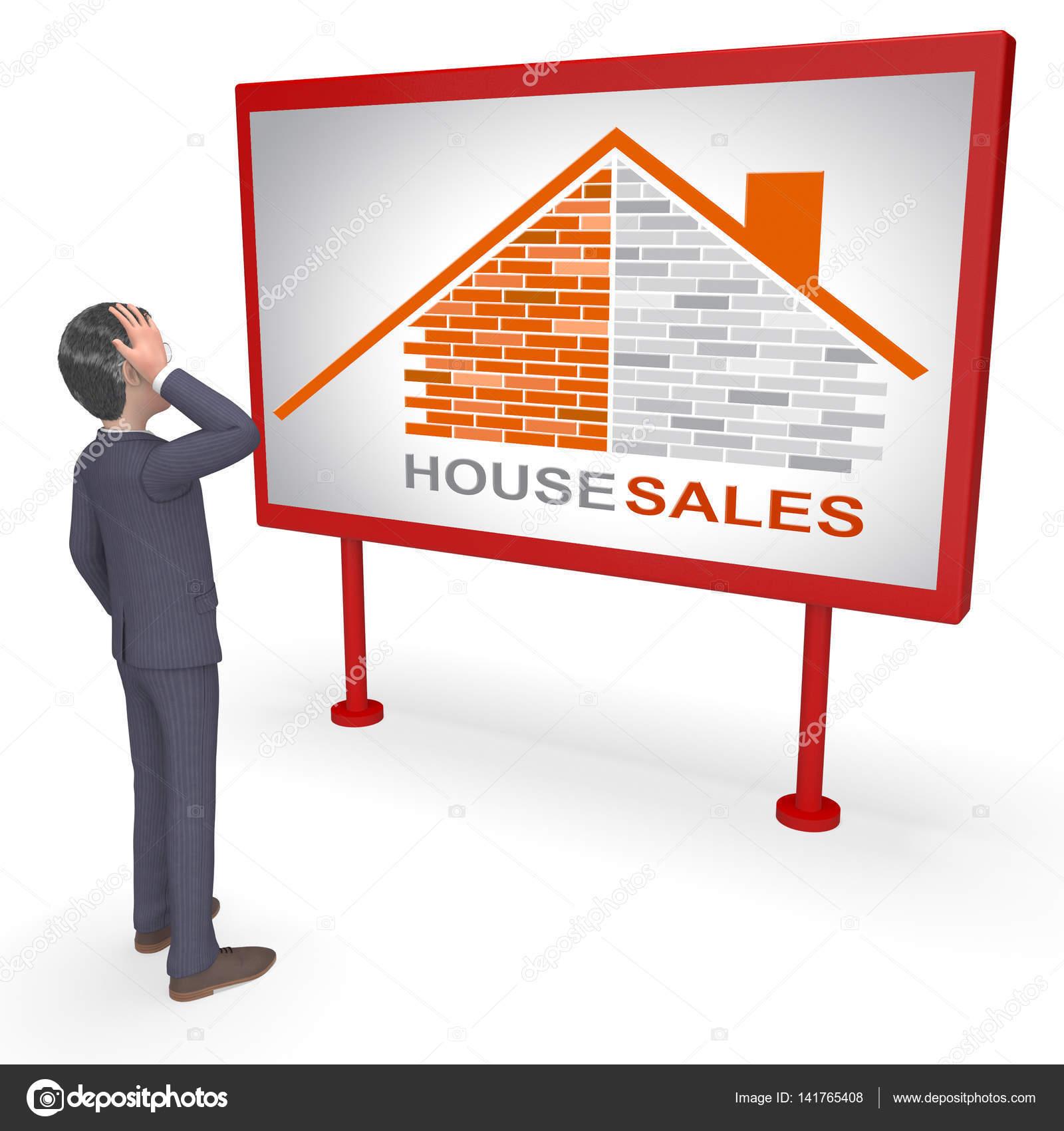 Hausverkäufe hausverkäufe zeigt einkäufe behausung 3d rendering stockfoto