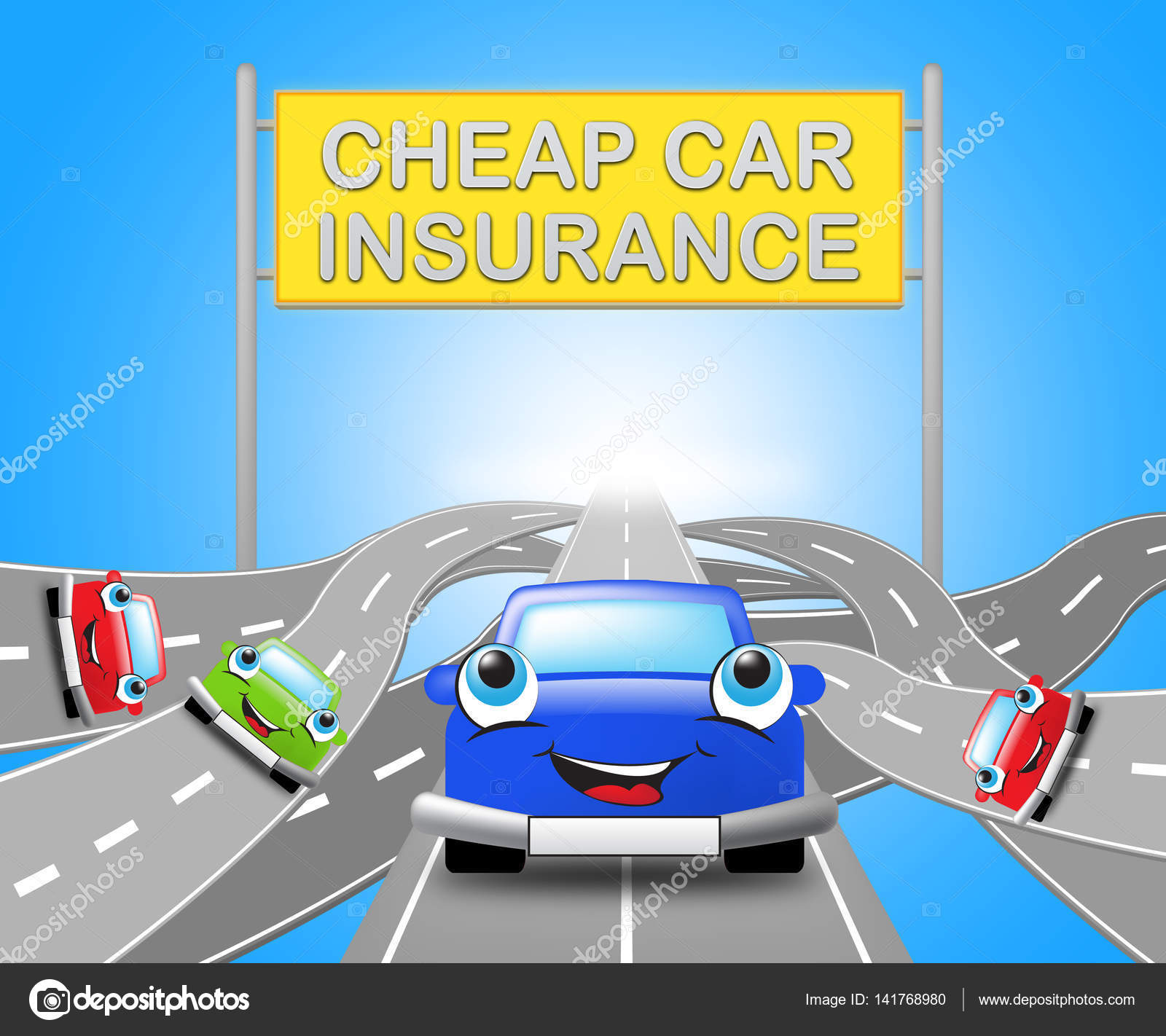 Auto Insurance Cheap >> Cheap Car Insurance Sign Auto Policy 3d Illustration Stock