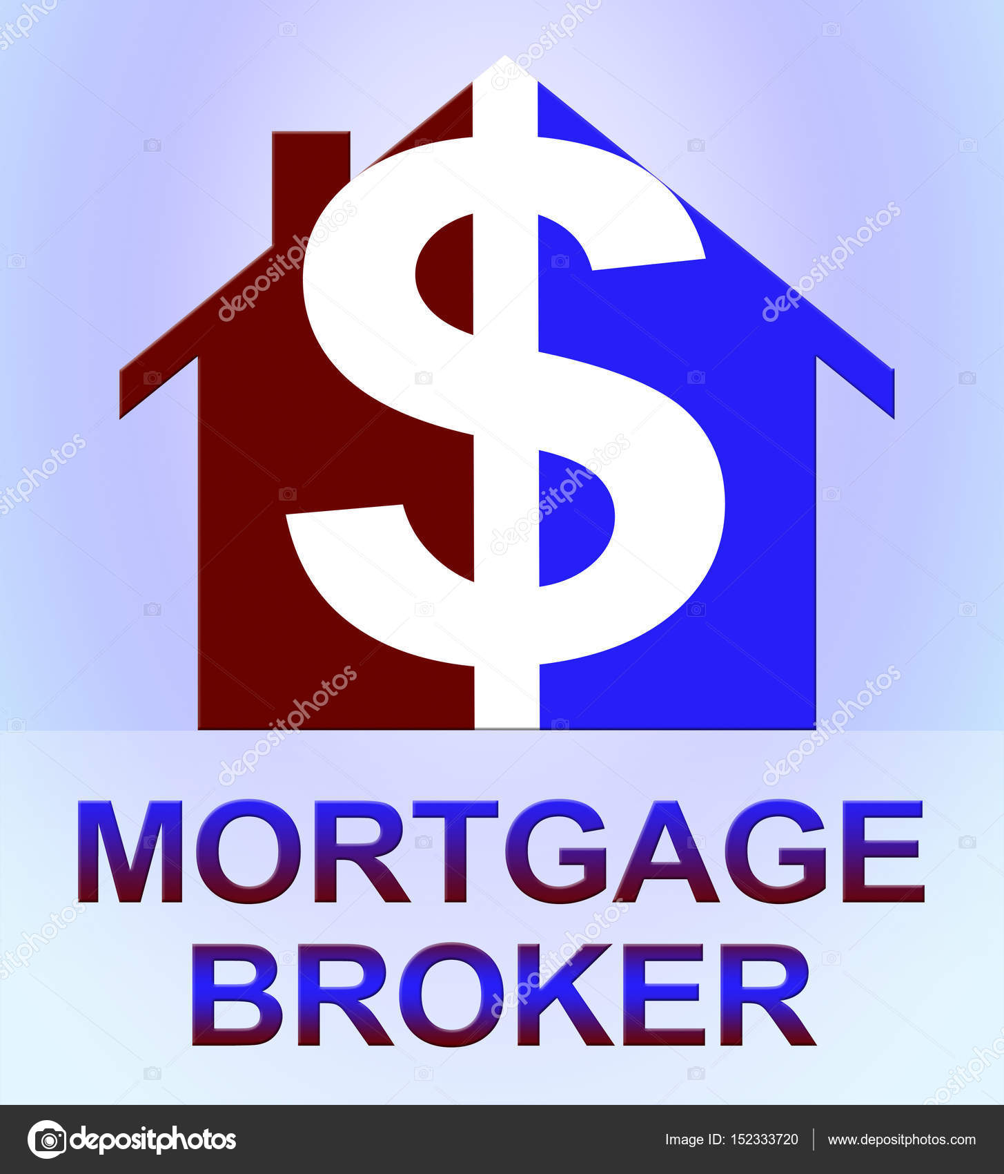 mortgage broker means home loan 3d illustration — stock photo