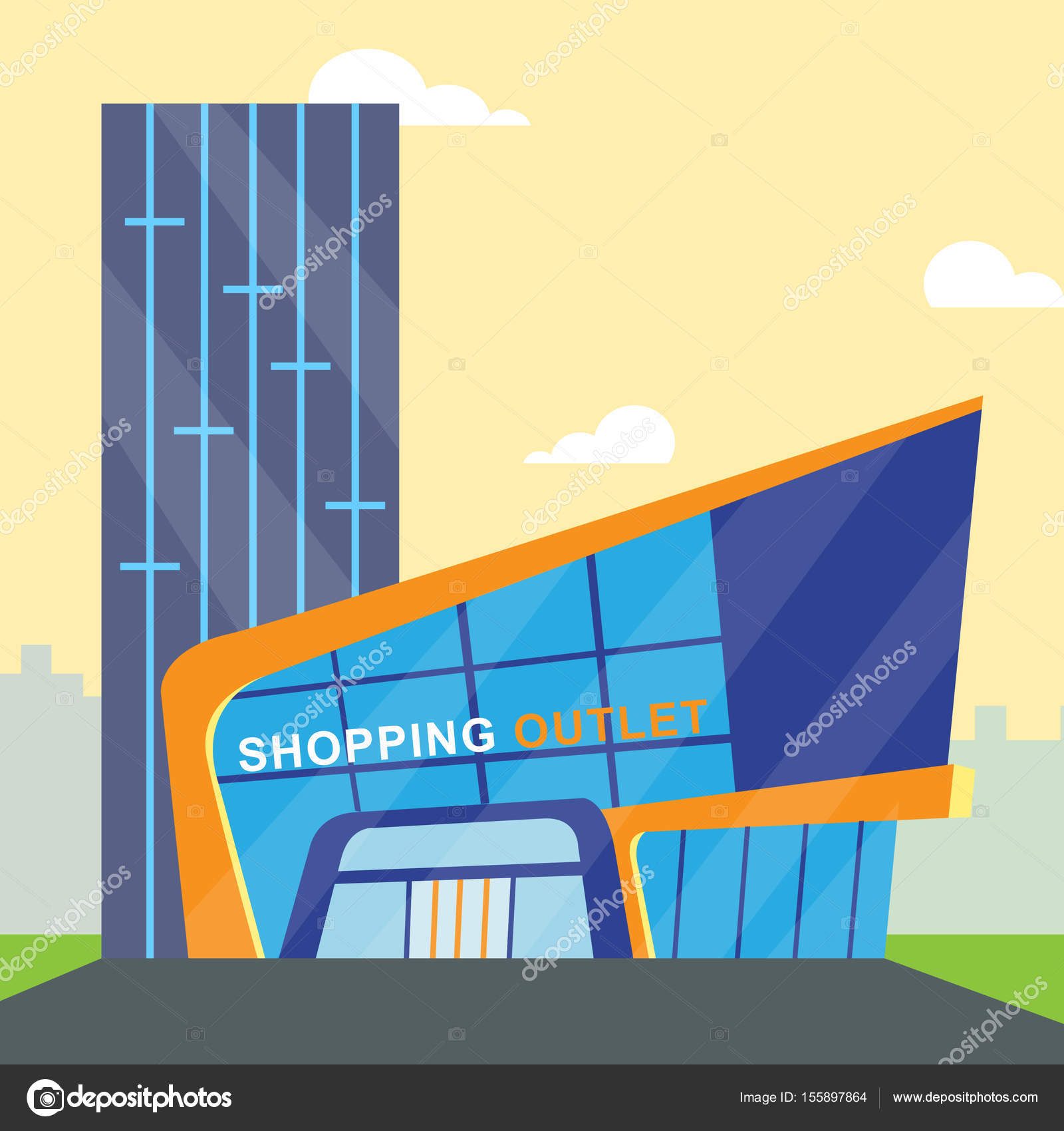 Shopping Outlet Meaning Retail Commerce 3d Illustration Stock