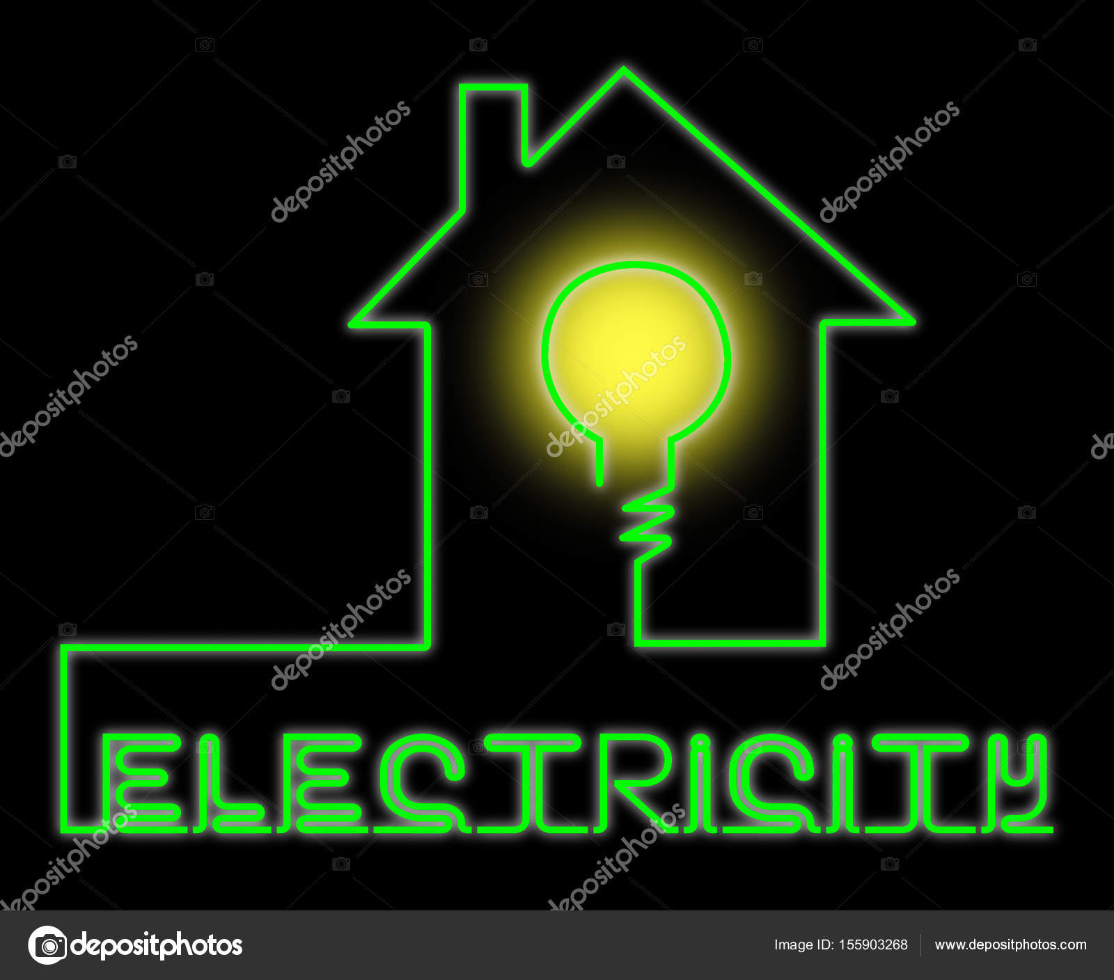 Electricity Light Bulb Means Power Source And Circuit Stock Photo