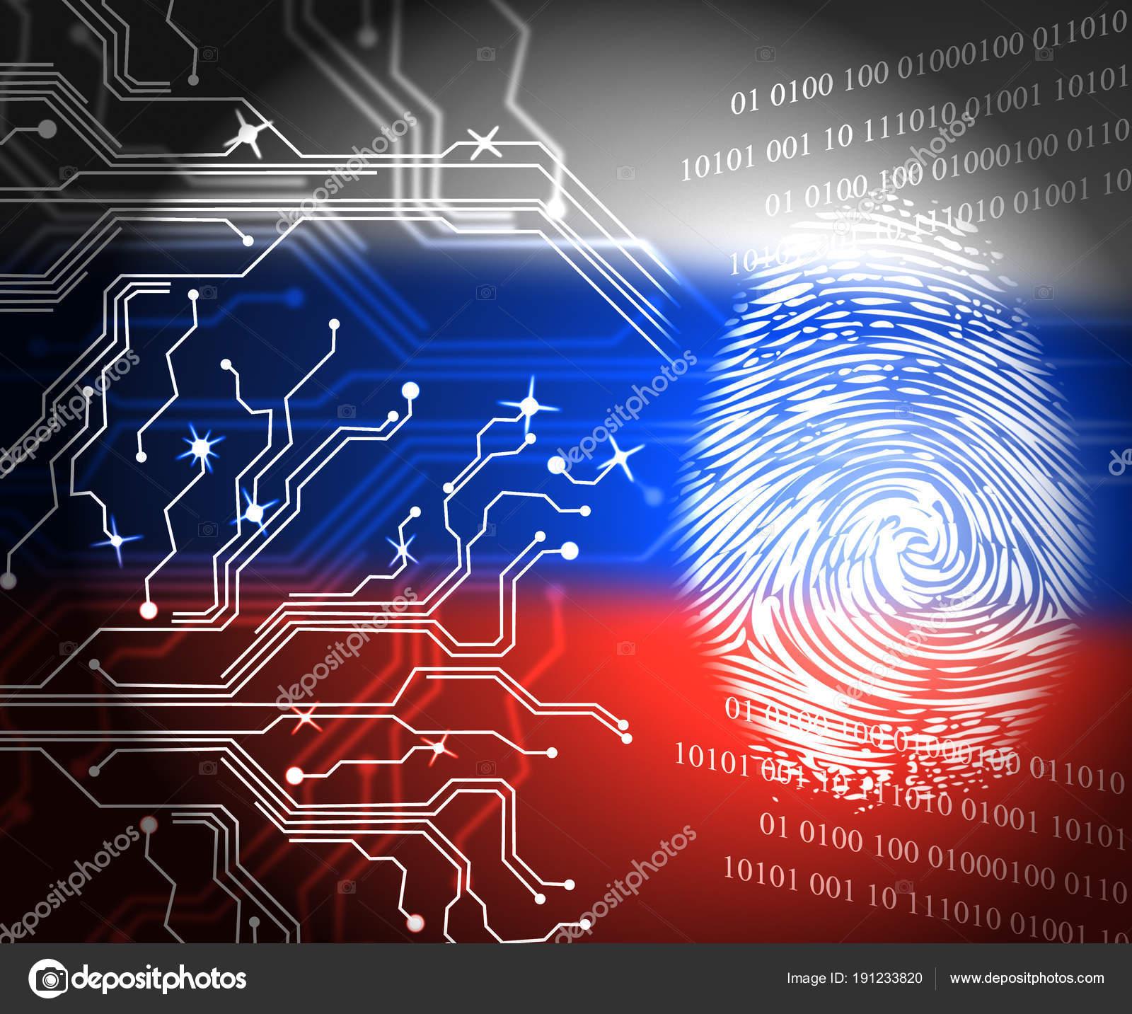 Bandera de Rusia y huella digital muestra Hacking ilustración 3d ...