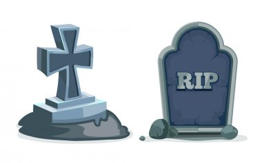 Vector illustrations set of Old gravestones with cracks. Pictures isolate on white background. ancient RIP. stock vector