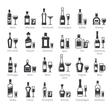 Alcohol bottles black glyph vector icons collection. Different alcoholic drinks with names set. Gin, vodka, brandy, absinthe beverages. Bar liquors, booze silhouette illustrations isolated on white icon