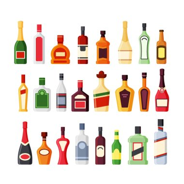Different alcohol glass bottles flat vector icons color set. Bar beverages, booze collection. Wine, whiskey, rum, vodka, cognac, tequila drinks. Liquors cartoon illustrations isolated on white icon