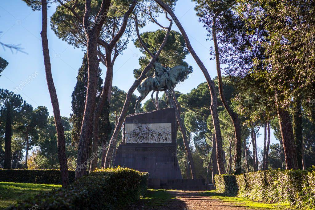 Monument in Garden of Villa Borghese, Rome