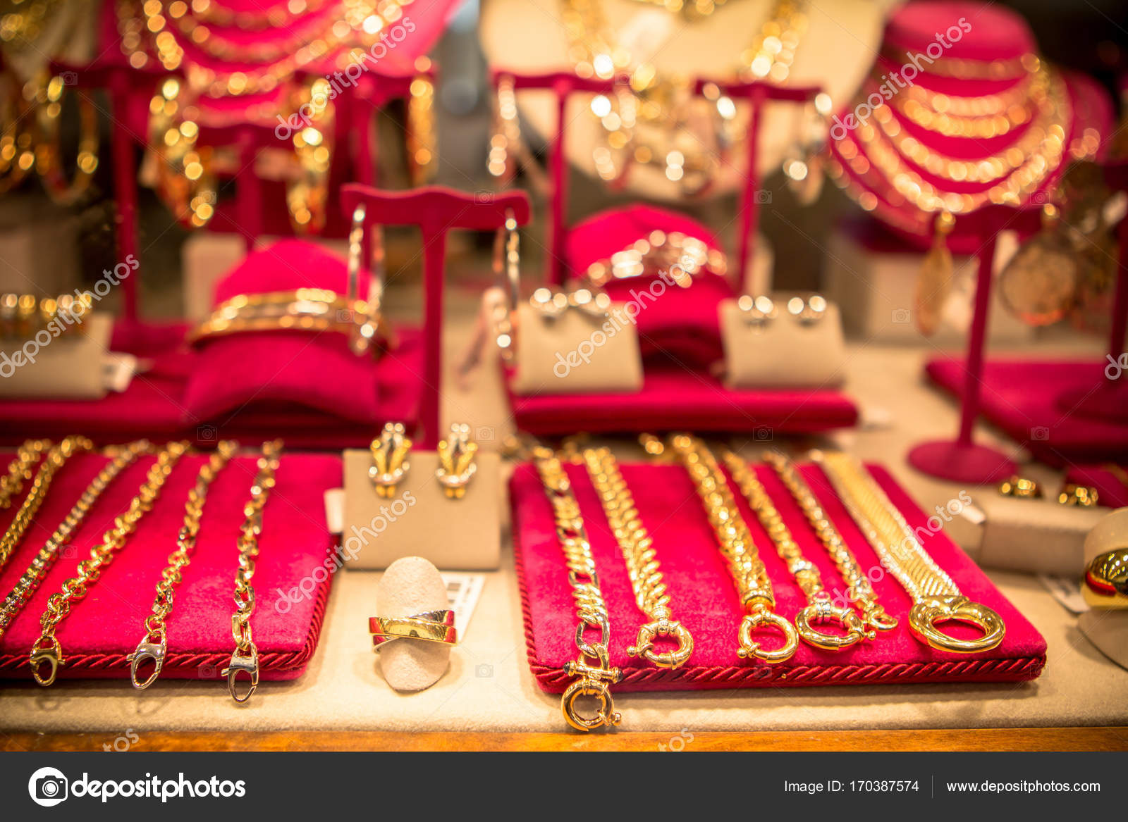 Beautiful jewelry in a shop — Stock Photo © CAHKT #170387574