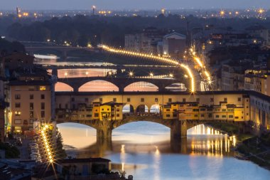 Great View of Ponte Vecchio at night, Firenze, Italy