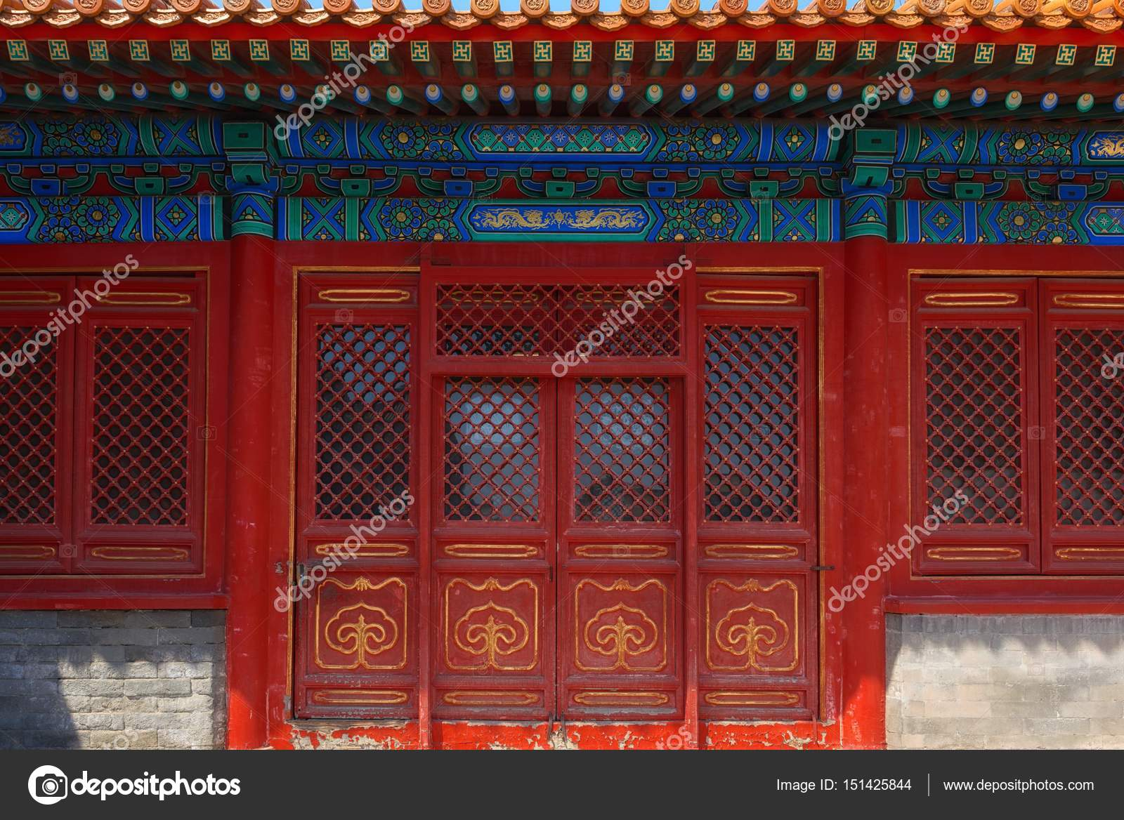 Gateway with red Chinese doors u2014 Stock Photo & Gateway with red Chinese doors u2014 Stock Photo © svedoliver #151425844