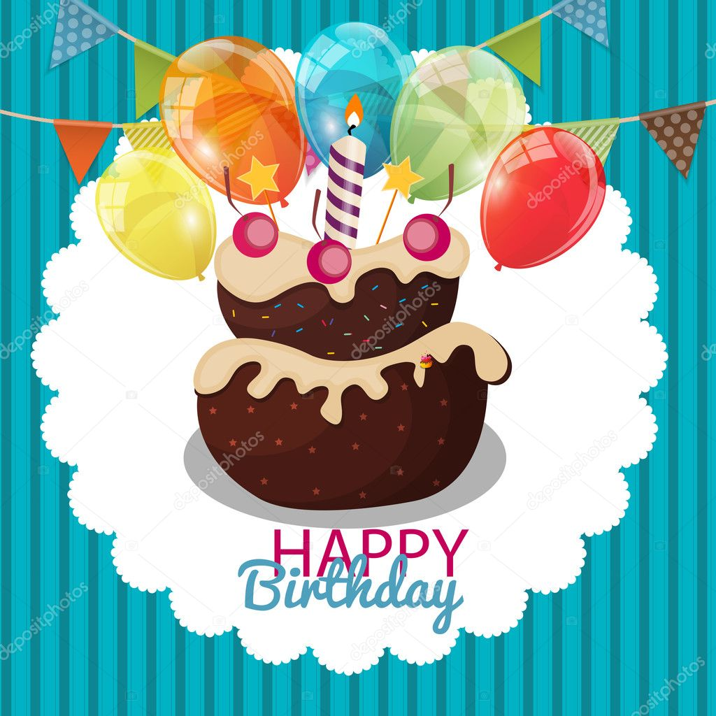 Color Glossy Happy Birthday Balloons Flags And Cake Banner Back