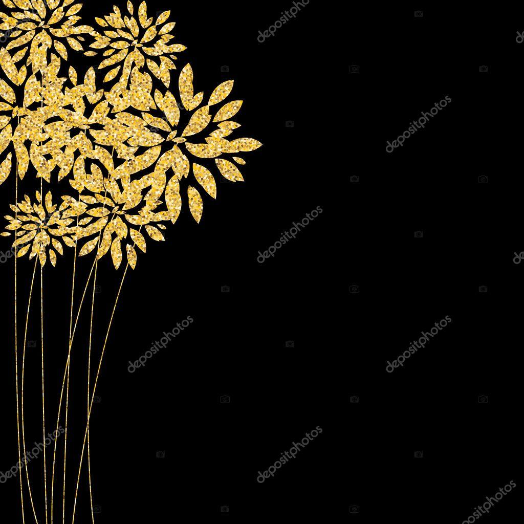 Золотые цветы на чёрном фоне