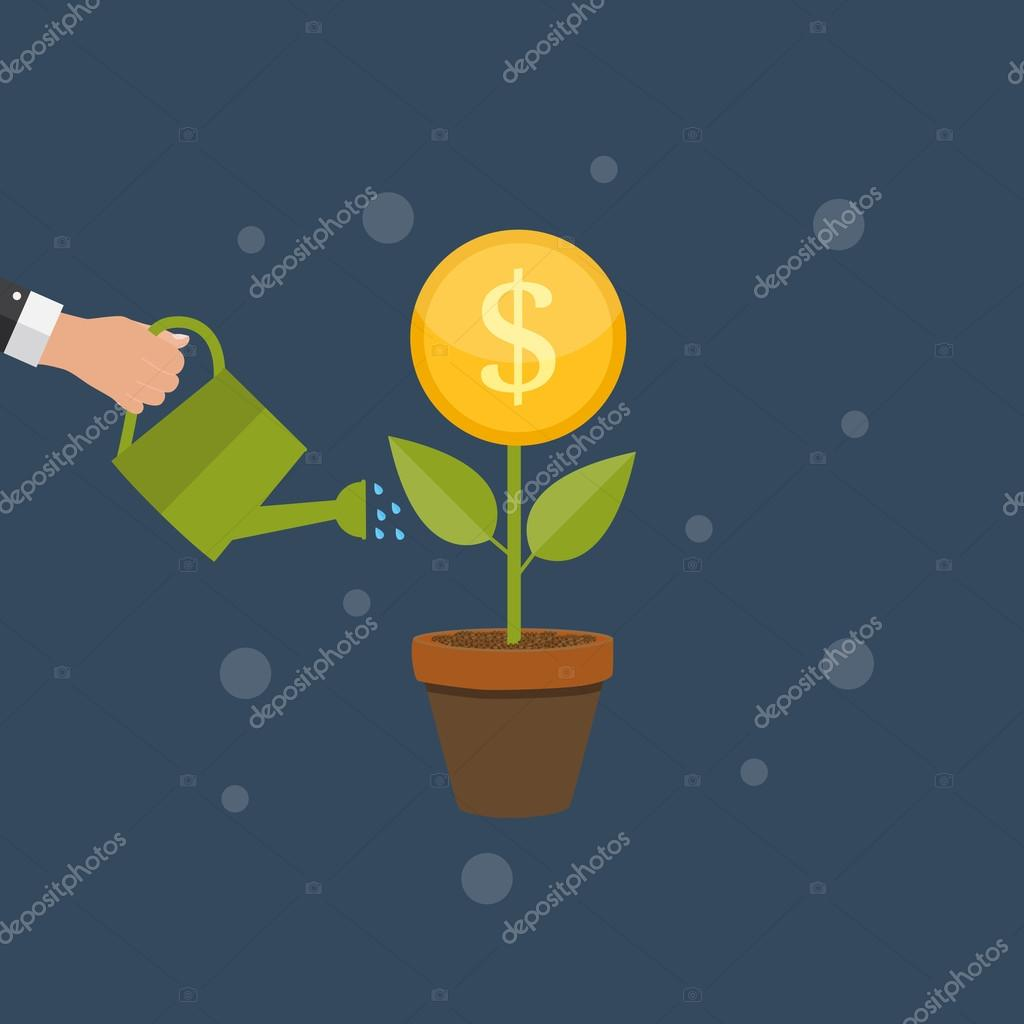Money Tree, Financial Growth Flat Concept Vector Illustration