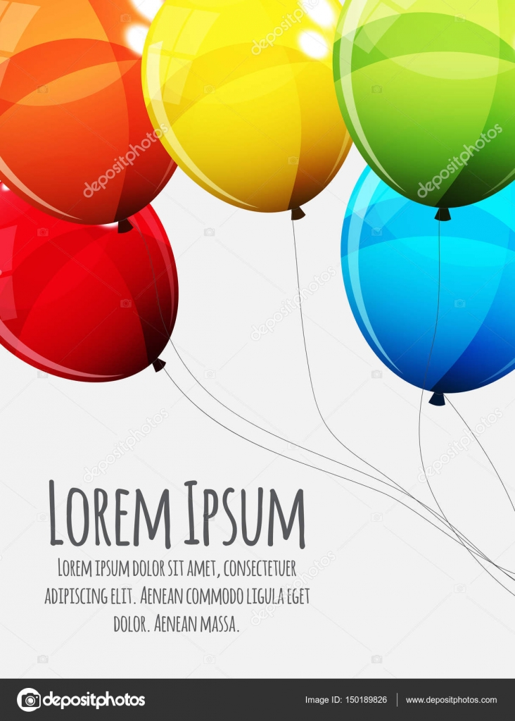 Birthday card template with group of colour glossy helium balloo birthday card template with group of colour glossy helium balloo stock vector bookmarktalkfo Gallery
