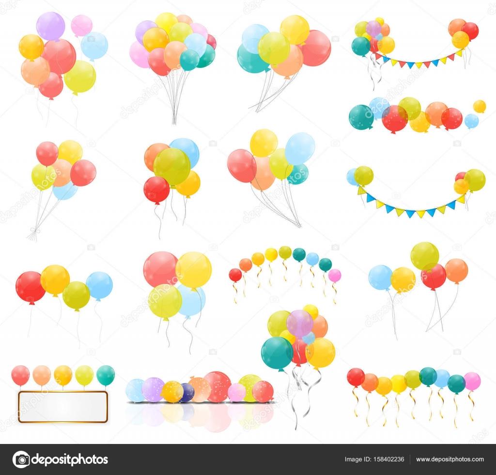 Gruppe von Farbe glänzend Helium-Ballons auf transparentem ...
