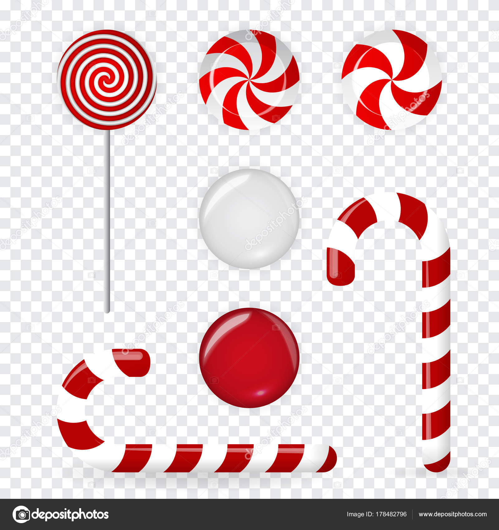 sweet candy of various forms cane circle on stick and flavors on transparent background decoration for the new year vector illustration