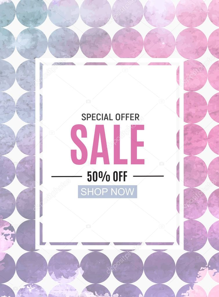 Abstract Designs Sale Banner with Frame. Vector Illustration