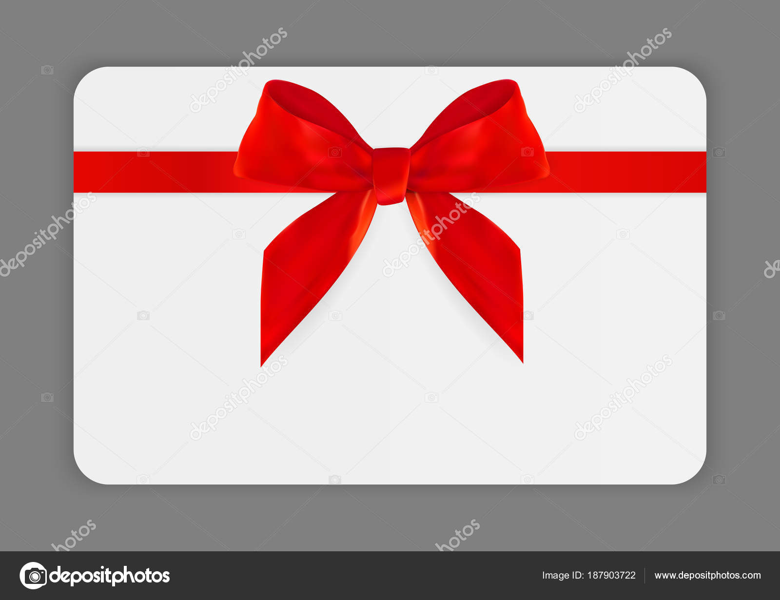 Gift Card Template | Blank Gift Card Template With Red Bow And Ribbon Vector