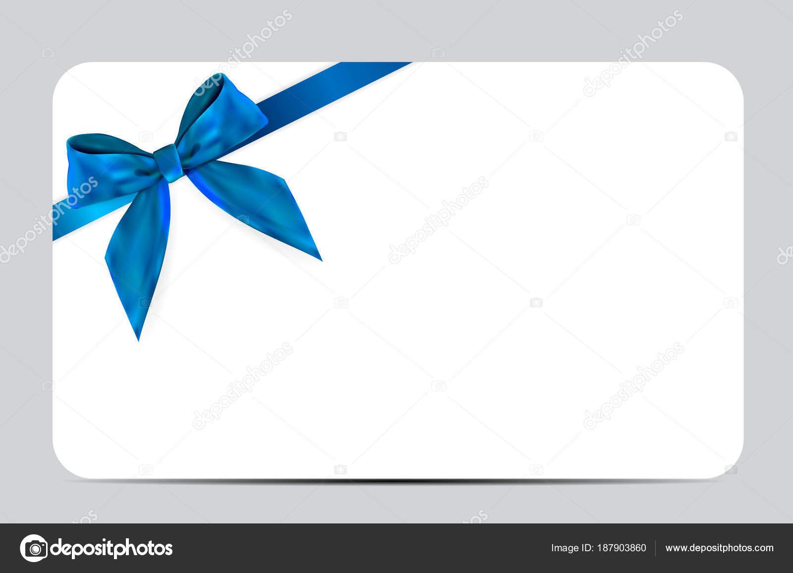 Carte Cadeau Entreprise.Modele De Carte Cadeau Vide Avec Un Arc Bleu Et Ruban Illustration